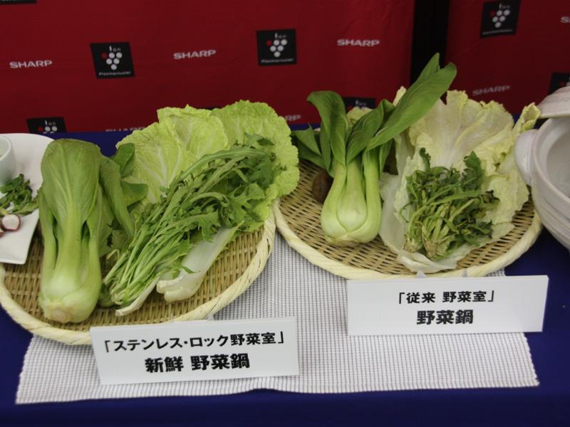 冷気を直接当てないため、野菜が長持ちするという。右がステンレス・ロック野菜室で、保存した野菜、左が従来の野菜室で保存した野菜