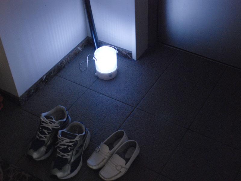 玄関を照らしてみた、物の位置などは充分に分かる