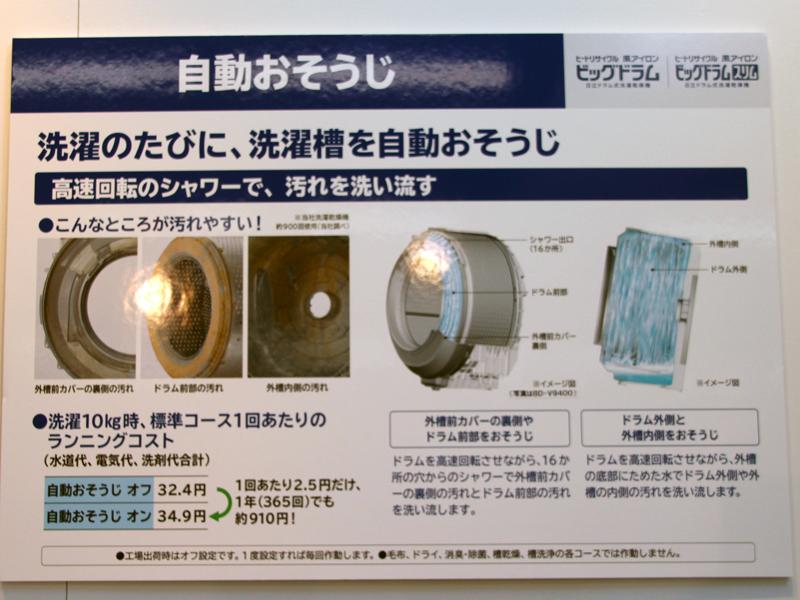 洗濯のたびに自動で洗濯槽の裏側まで掃除する「自動おそうじ」機能