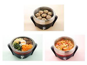 レシピブックに載っている、石焼ビビンバ、しいたけシュウマイ、夏野菜のパスタスープ