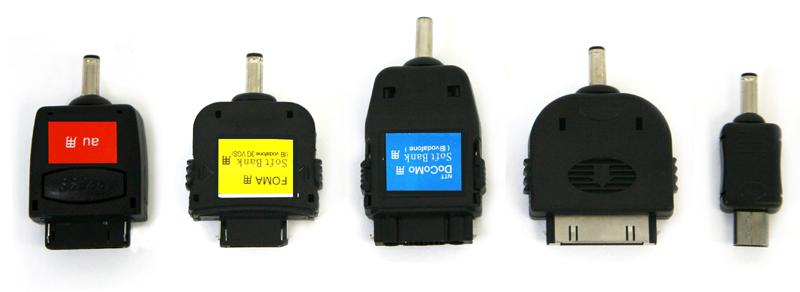 本体には5種類の接続端子が付属する