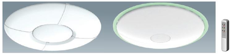 LEDシーリングライト「ECOLUX」。カバーは2タイプ用意される。リモコンも同梱される