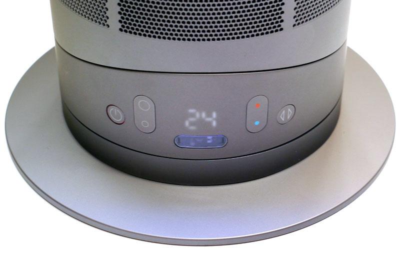 本体下部に操作パネルがある。風量や設定温度などは数字2桁(白色7セグLED×2)で表示される