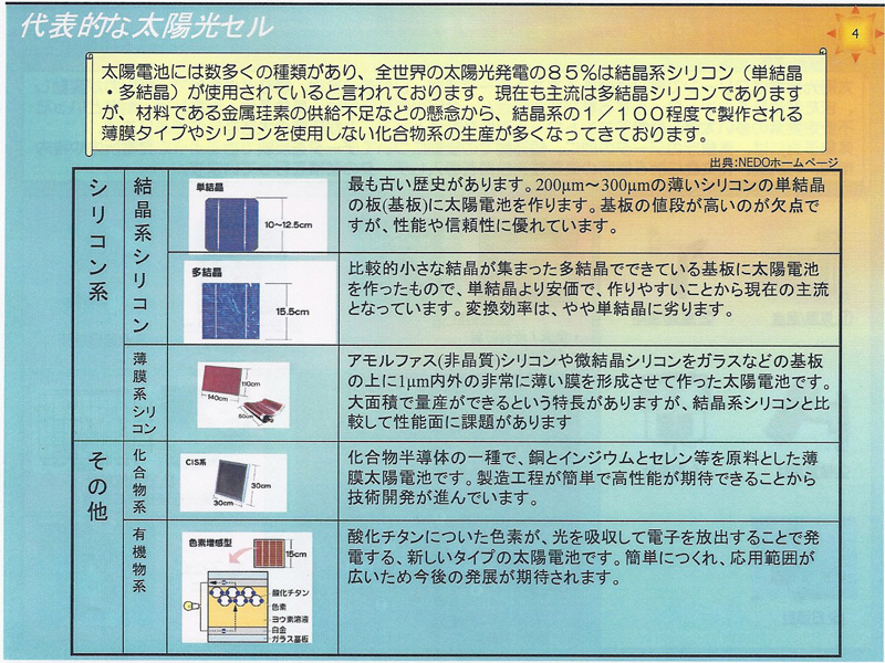 各太陽光電池セルの特徴