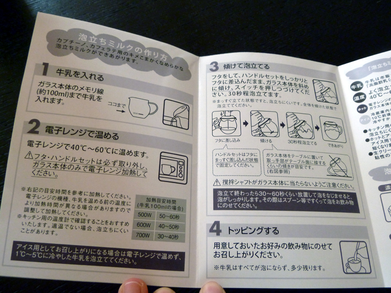 付属の説明書。使い方が図入りで説明されている
