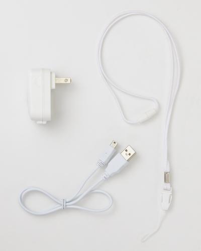本体には充電用のACアダプターとUSBケーブルが付属するほか、首にかけるためのネックストラップも付属する