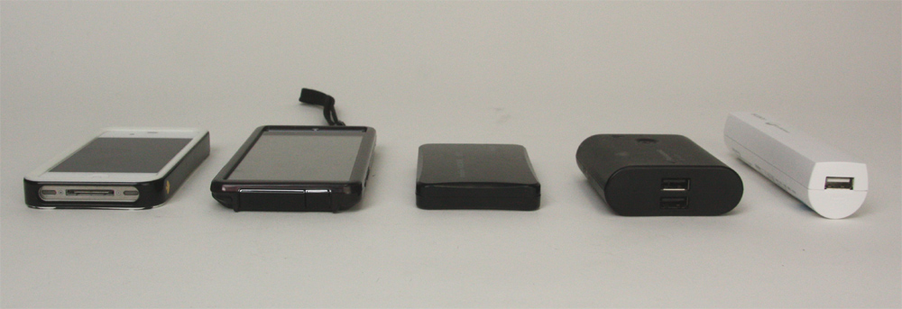 モバイルボルテージ(中央)の薄さ比較。他社のモバイルバッテリー(右側2点)よりも薄く、左側のカバー付きスマートフォンとはほぼ同じ厚さとなっている
