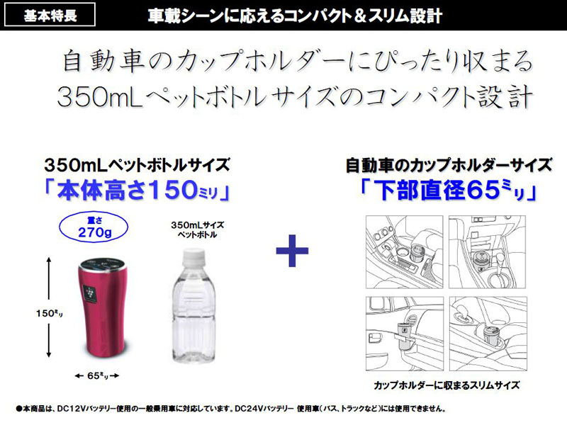 車内のカップホルダーに設置できるように、本体サイズは350mlペットボトルと同等の65×150mm(直径×高さ)とした