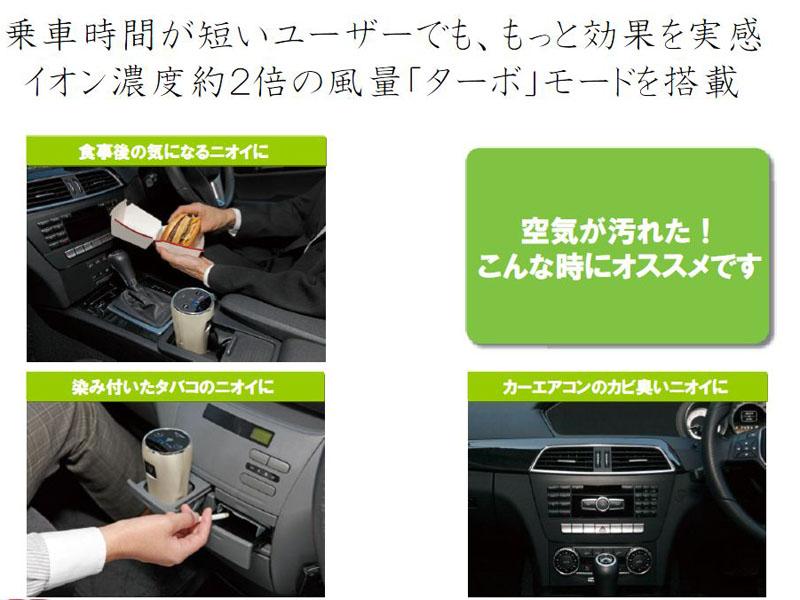 車内で飲食した後や、タバコを吸った後など、短時間で素早くニオイを取り除くのに便利だという