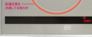 表面のトッププレートが高温時に、リングが点滅して注意を促す
