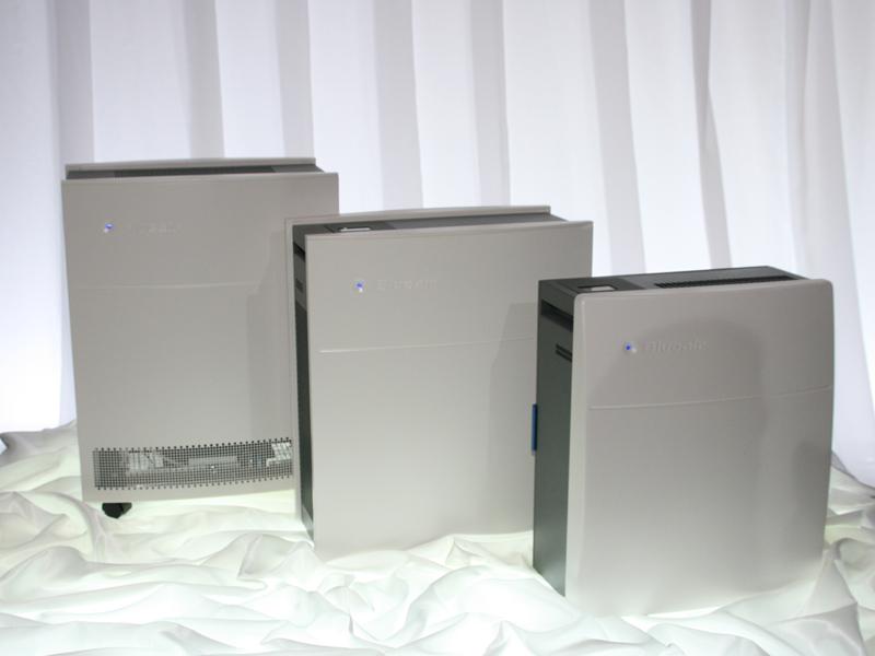 ブルーエアの空気清浄機3機種。左から650E、450E、270E