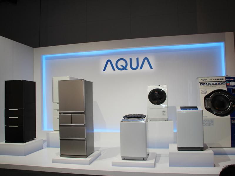 AQUAブランドとして販売する冷蔵庫、洗濯機、業務用洗濯機など