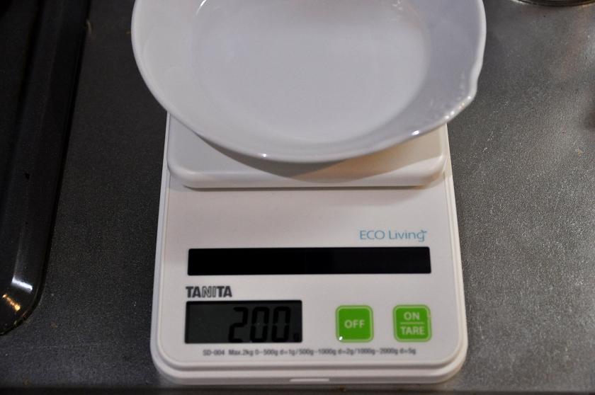 容器を載せると容器の重さが表示される