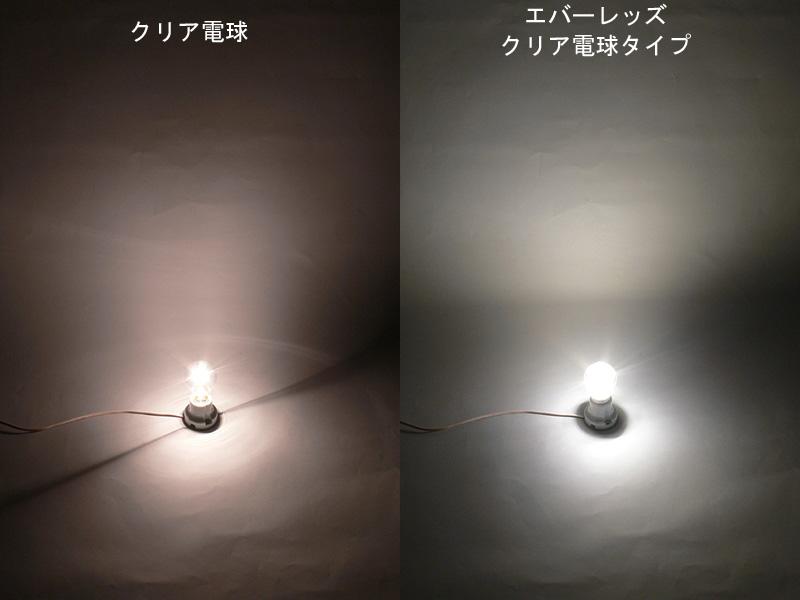 光の広がりを比べた写真。右がクリアLED電球。見た目から光り方までクリア電球を忠実に再現しているが、そこまで徹底する理由は何だろか?