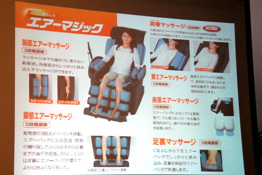 腕部には「肩療(けんりょう)マッサージ」、脚部には「3段式オットマン」を新搭載