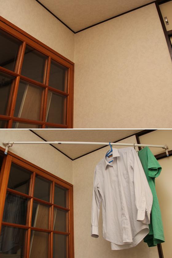 鴨居に取り付けた竿用パーツの上に、物干し竿を載せる。我が屋の場合、部屋の隅のデッドスペースに設置した。動線の邪魔にならず部屋干しができる