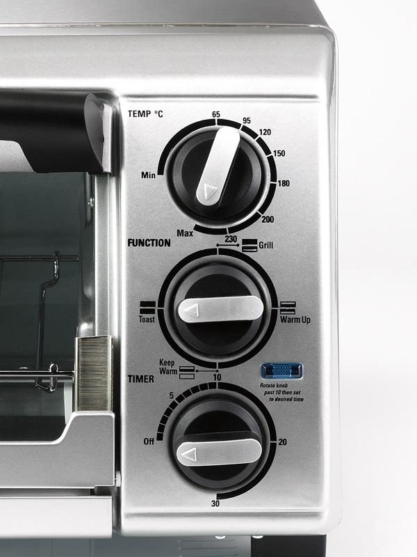 真ん中のダイヤルで加熱モードを切り替える。ちなみにその上は温度、一番下がタイマーとなる