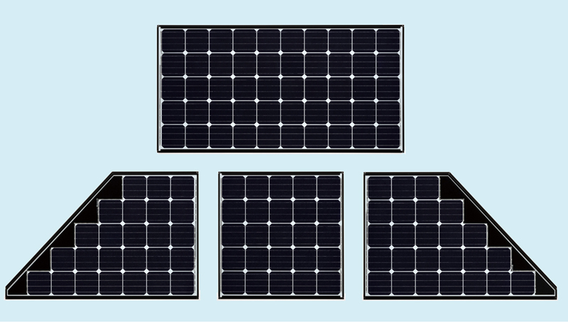 最も出力が高い「212Wシリーズ」。寄棟屋根などにも設置できるように、長方形、ハーフ、台形(右・左)の3タイプ、4機種を用意する