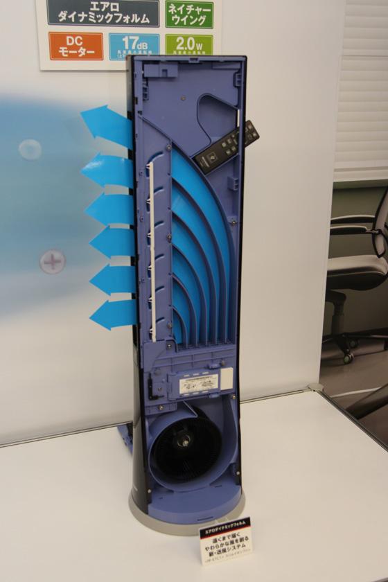 送風口から本体前面の吹き出し口までの送風経路を、少しずつ広げることで柔らかな風を遠くまで届ける「エアロダイナミックフォルム」を搭載する