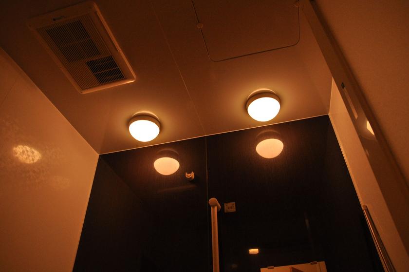 白熱灯は浴室の隅々までよく光が届いている