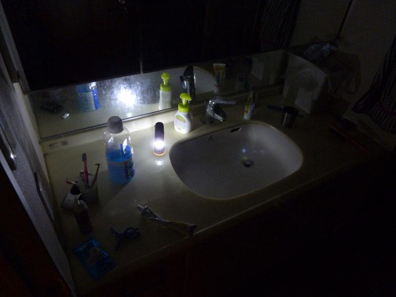 ランタンとして洗面台に置いた