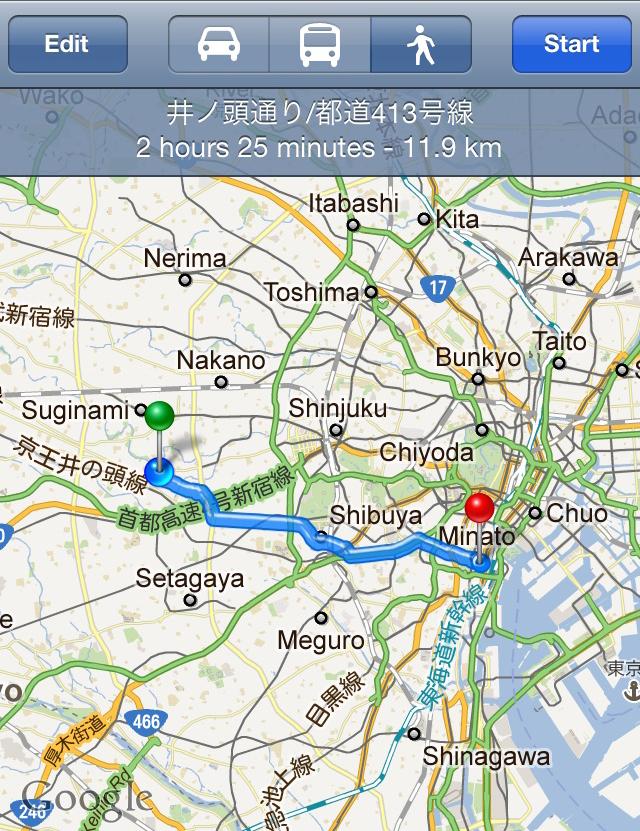 今回走行した実際のルート。約12kmの道のりだ