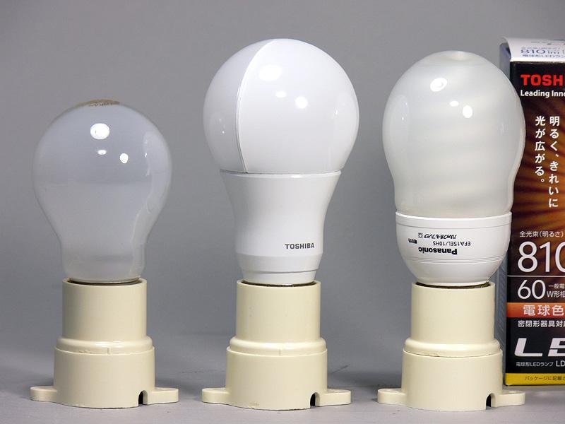 高さは118mm(中央)。60W形白熱電球(左)より24mmも背が高く、電球形蛍光灯よりも4mm高い。それでも大きめの光源部にくびれのあるコンパクトなフィンレスの放熱部が電球らしい。重量は172gとLED電球の中では重い