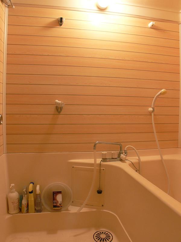 <b>【E-CORE LDA11L-G】</b><br>60W形白熱電球と同様に、浴室全体が十分に明るい。影の落ち方も柔らかく雰囲気が良い
