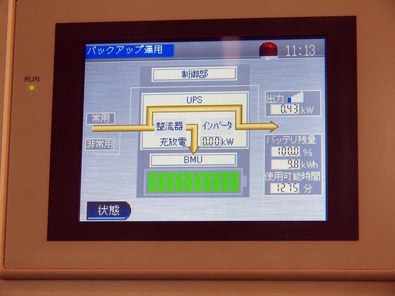 家庭用の小型電気ストーブを弱(430W)で使用した際の液晶パネル表示