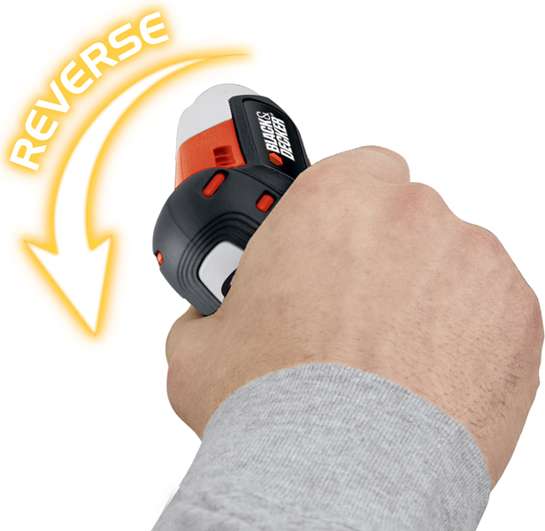 本体を回したい方向に傾けるだけで、ネジを締めたり緩めたりできる。また、左右30度までの範囲では、傾ける角度によって回転スピードを調節する無段階変速ギアを搭載した