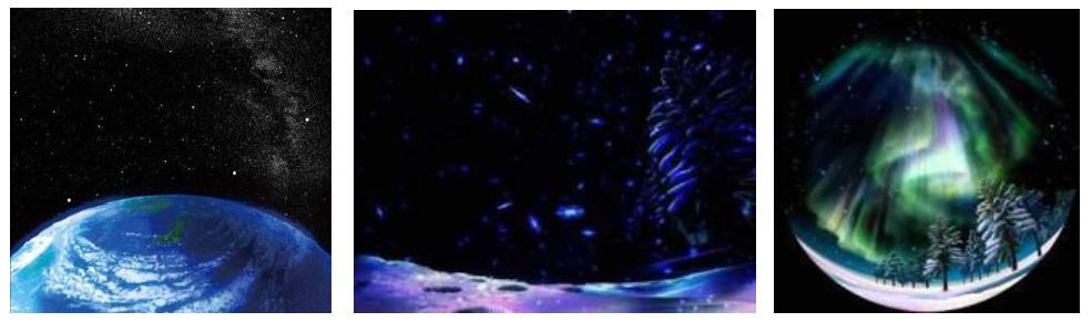 星空のほか、専用の映像コンテンツも用意される。写真は「地球の夜空」