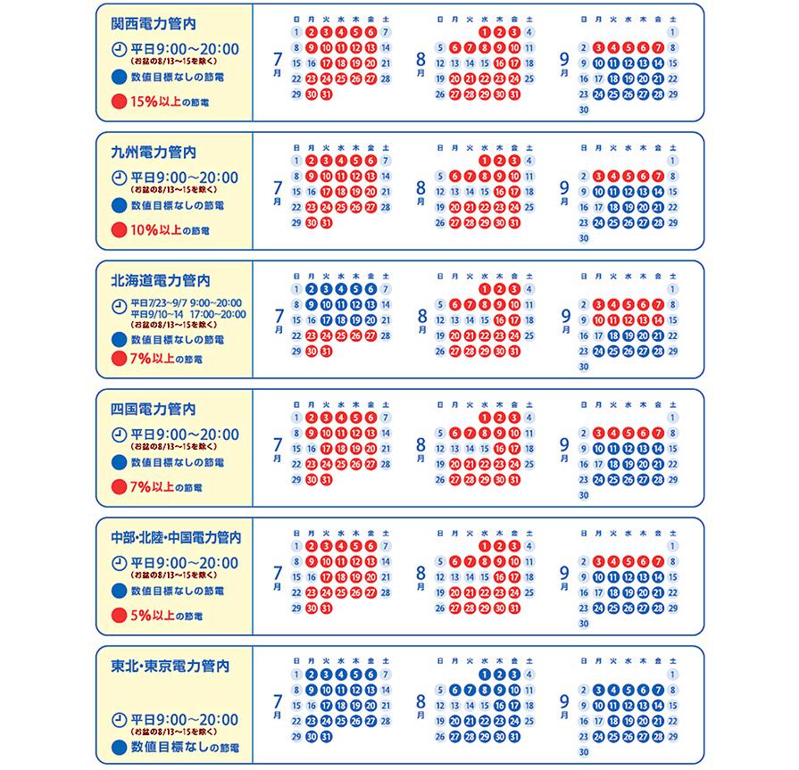 今夏の節電カレンダー