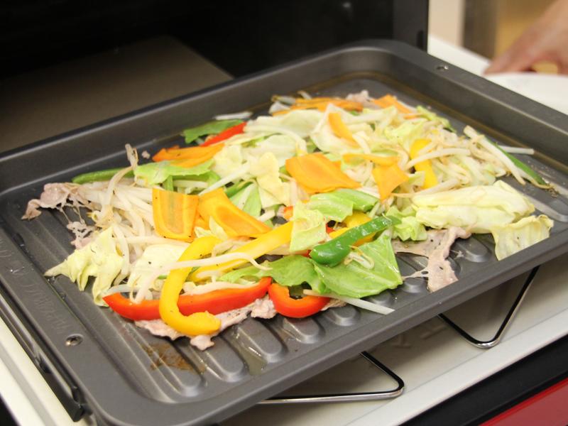完成した野菜炒め。油を使っていないので、カロリーカットできる