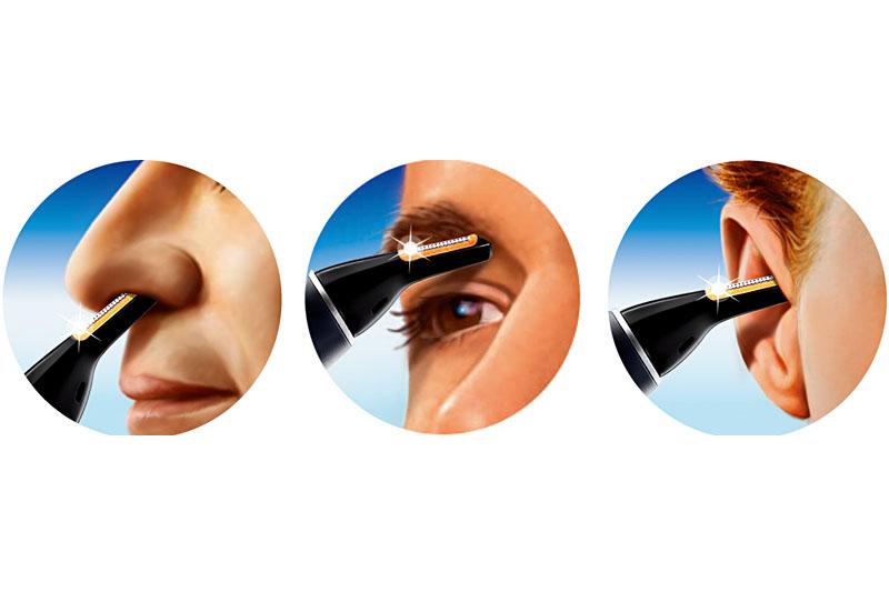 NT9110はこれ1本で鼻毛、眉毛、耳毛の処理をすることができる