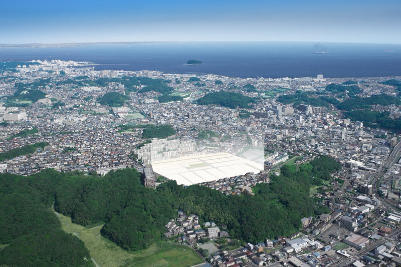 ライフアソート横須賀サンサタウンの建設予定地。京急北久里浜駅近くの高台に誕生する