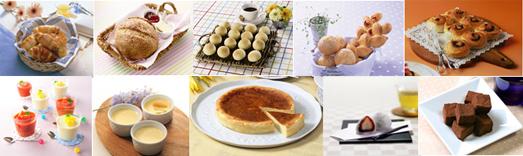 パンでは、フランスパン、ベーグル、バターロール、クロワッサン、メロンパン、フォカッチャ、ポンデケージョなど。スイーツでは、シフォンケーキ、ロールケーキ、マカロン、焼きドーナツ、ゼリー、プリンなどが作れる
