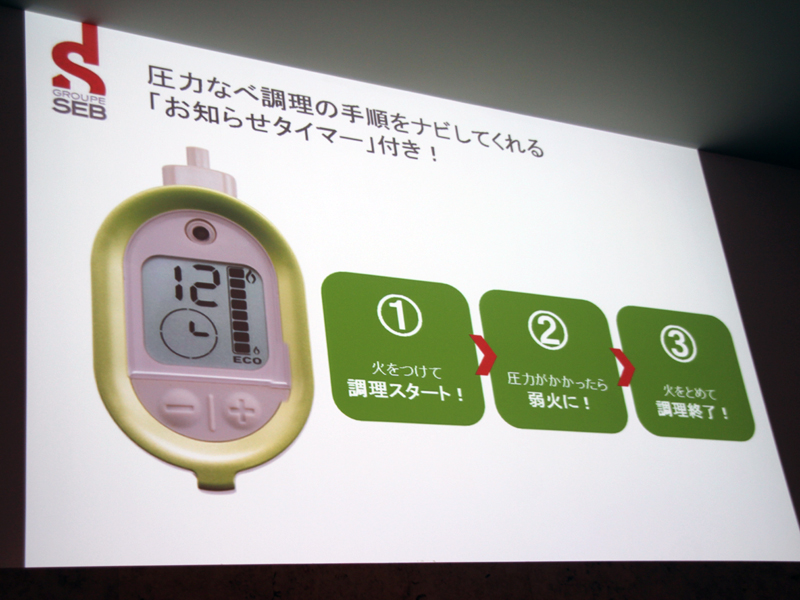 加圧が始まったタイミングと圧力時間を正確に知らせてくれる