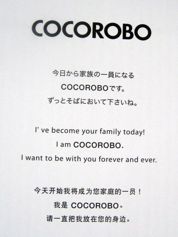 「今日から家族の一員になるCOCOROBOです。ずっとそばにおいて下さいね」というメッセージが日本語、英語、中国語の3カ国語で書かれている