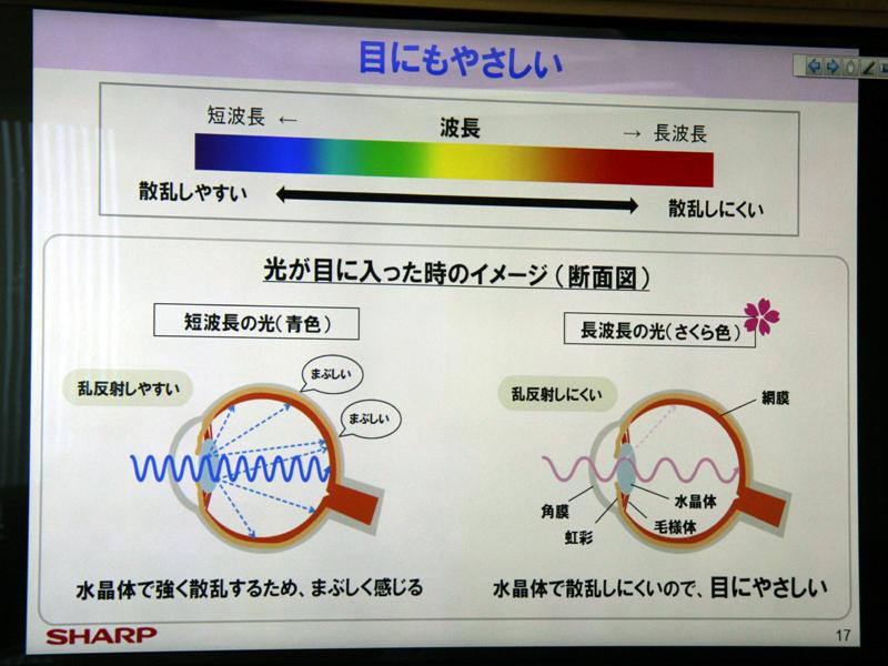 寒色は光の波長が短いため、目の中で乱反射が起きやすいという