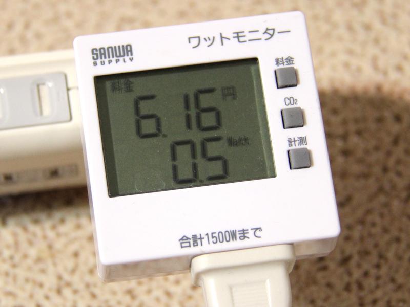 消費電力も測ってみた。写真は待機電力中のようす。0.5W消費しているもよう