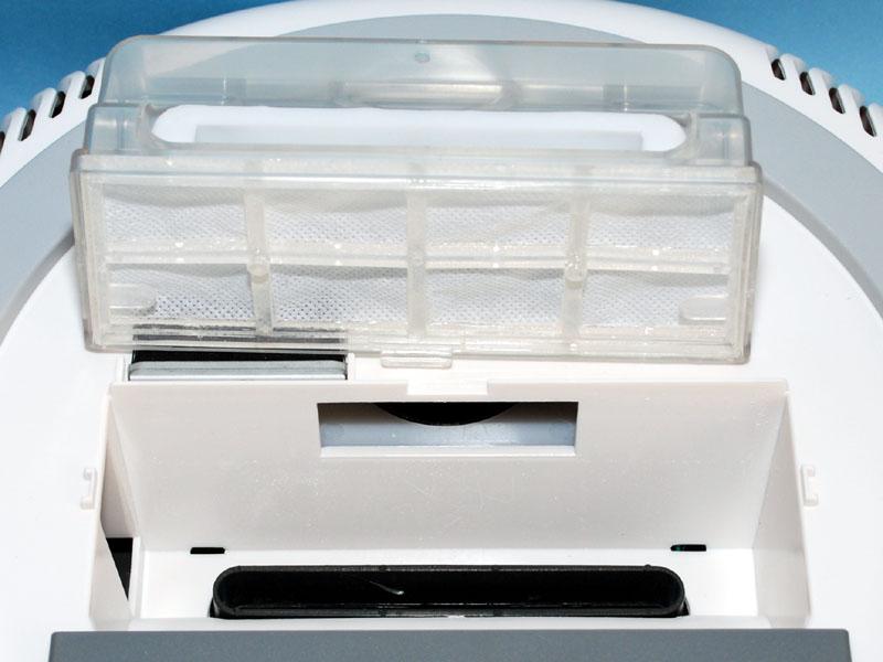 集塵ケースにはフィルターが付いている。ここが一番メンテナンスを必要とする場所だが、水洗いもできる