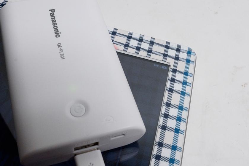 こちらはiPad 2を充電しているところ。スリープ状態にせずとも充電されていた