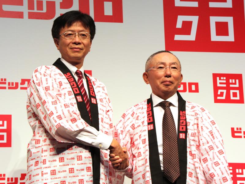 ビックカメラの宮嶋宏幸 代表取締役社長とユニクロの柳井正 代表取締役会長兼社長