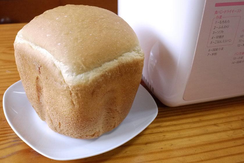 2時間半で焼けたパン。他と比べると膨らみ方は若干少ない
