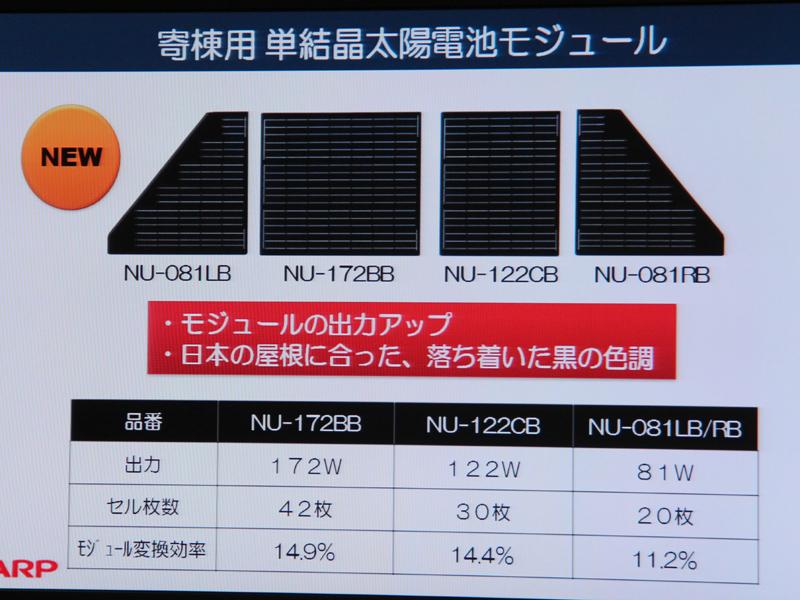 今回新たに発売された、寄棟屋根用の単結晶太陽電池モジュール。4種類用意される