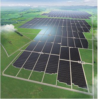 シャープがタイに設置した、世界最大級の太陽光発電所(イメージ画像)。「EPCビジネス」で設置している