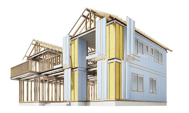 「くるみ~な」は、柱や梁など構造体の外側から断熱材で完全に覆う