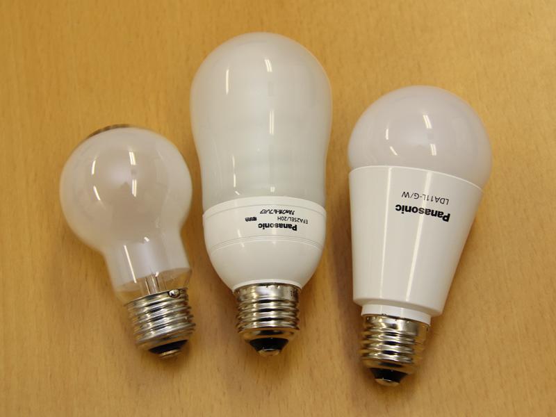 左から白熱電球、電球形蛍光灯、LED電球