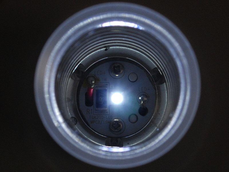 LEDが点灯するとチューブが反射する