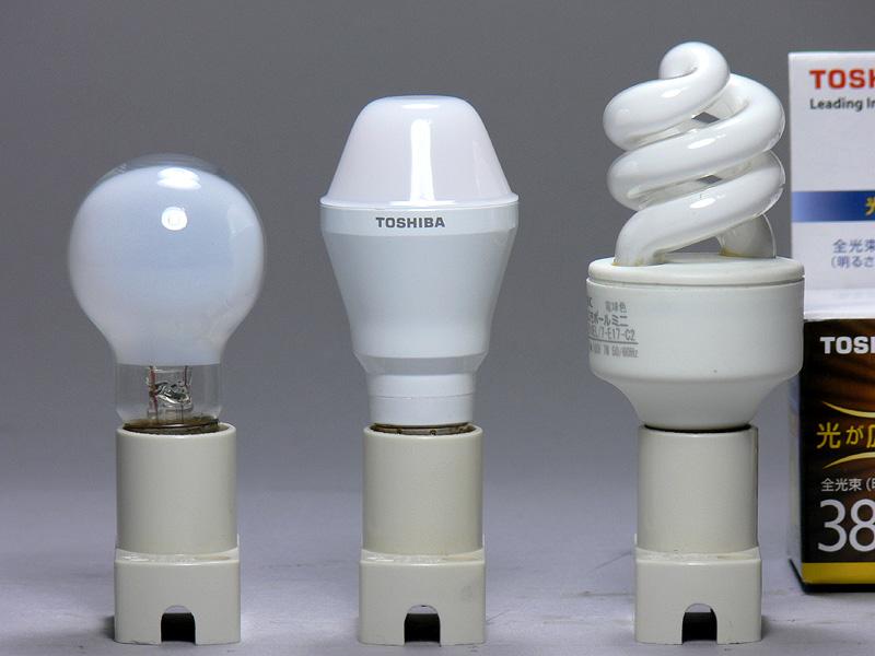 台形のグローブが特徴的だ(中央)。高さは77mmで、ミニクリプトン電球よりも10mm背が高いが、口金付近の径は18mmと、ミニクリプトンよりも1mm細い。重量は58gと、小型LED電球全体の中では重め